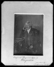Black and white daguerreotype of  Louis Jacques Mandé Daguerre