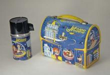 Blue Jetsons lunchbox with yellow border, featuring the show's characters