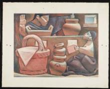 Colored lithograph of a man standing up and a woman sitting down