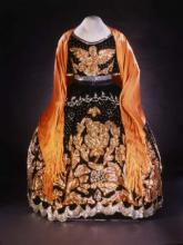 Black China Poblana dress with orange sleeves and orange embroidery