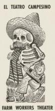 Paper Teatro Campesino poster depicting a skeleton in black ink