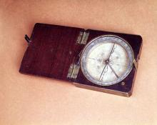 Lewis and Clark expedition compass made of wood, brass and silver