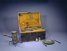 George Washington's camp chest made of painted green wood with tin plates and platters