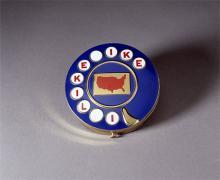 "Woman's Eisenhower blue campaign compact with ""I Like Ike"" slogan"