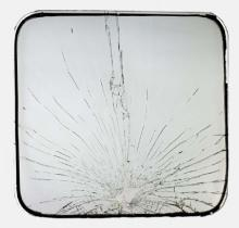 Broken School Bus Window from Boston School Desegregation