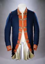 Blue wool uniform coat lined with linen and fastened with metal buttons