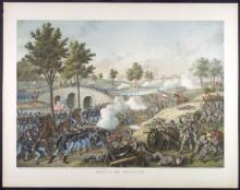 Colored lithograph of the Battle of Antietam
