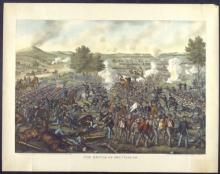 Colored lithograph of the Battle of Gettysburg