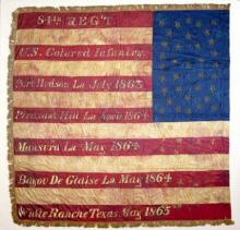 Painted silk American flag used by the 84th Regiment of Infantry