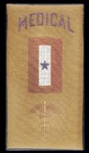 Yellow Man-in-Service flag with blue writing and red and white stitching