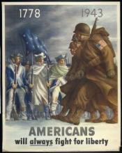 Colored poster depicting American soldiers from 1778-1943