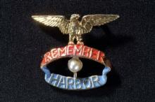 Remember Pearl Harbor pin with red and blue banners