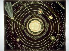 Ellen Harding Baker's wool and cotton solar system quilt