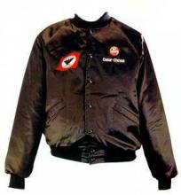 Cesar Chavez's black union jacket with white and red accents