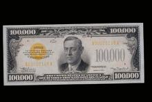 $100,000 U.S. gold certificate with Woodrow Wilson's portrait on the front