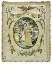 Rectangular embroidery sample, with an oval image of Charity portrayed as a women with three children. Around the oval are wheat, stems, leaves, roses and an eagle.
