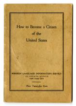 "1926 brochure on ""how to become a citizen of the United States"" from the Foreign Language Information Service."