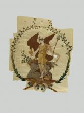 "The Liberty figure shown on the banner wears a Grecian garment, carries a pole with a ""liberty cap"" on it, and nourishes the American eagle—all while standing triumphant over the fallen crown and broken chains of monarchy."