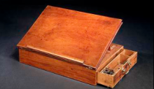 The Declaration of Independence Desk, wood, top lifts up, drawer pulls out from side