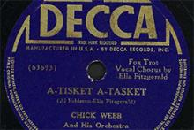 Image of an Ella Fitzgerald record with a navy blue label and yellow writing